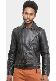 Jaqueta Ellus Leather Wash Perfecto Masculina - Masculino-Preto+Marrom