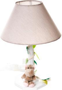 Abajur Madeira Floresta Hipopótamo Bebê Infantil Potinho De Mel Bege