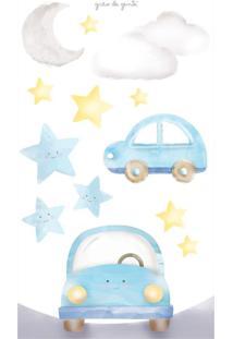 Adesivo Parede Estrela, Nuvem, Lua E Carrinhos Grão De Gente Azul