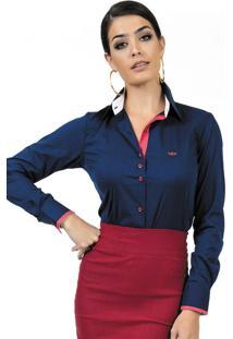 Camisa Social Com Elastano Azul Marinho Principessa Laurita