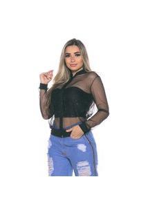 Jaqueta Bomber Tule M&A Modas Glitter Brilho Preto
