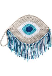 My Beachy Side Clutch Olho Com Franja - Azul