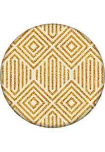Tapete Love Decor Redondo Wevans Geométrico Amarelo 84Cm