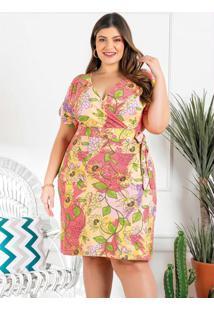 Vestido Plus Size Floral Com Faixa