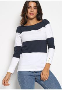 Blusa Listrada Com Pespontos & Bordado- Azul Marinho & Baleatory