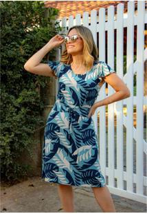 Vestido Pau A Pique Estampado Manga Evasê Azul