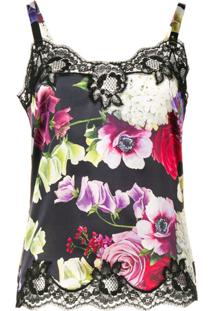 Dolce & Gabbana Blusa De Alcinha Floral - Preto