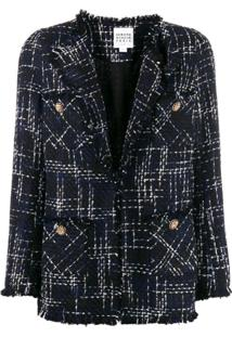 Edward Achour Paris Fitted Tweed Blazer - Azul