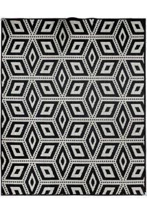 Tapete Sisllê Geométrico Cubes Retangular Polipropileno (133X190) Preto
