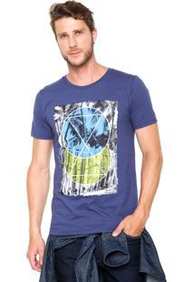 Camiseta Fiveblu Manga Curta Slim Palm Circle Azul