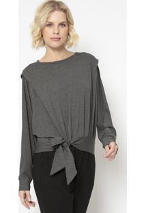 Blusa Em Mescla Com Amarração- Cinza Escuro- Colccicolcci