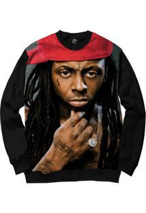 Blusa Bsc Lil Wayne Full Print - Masculino-Preto