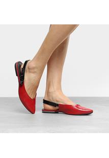 Sapatilha Dakota Chanel Laço Lateral Feminina - Feminino-Vermelho