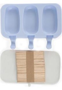 Forma De Picolé Em Silicone 3 Cavidades E 50 Palitos Azul