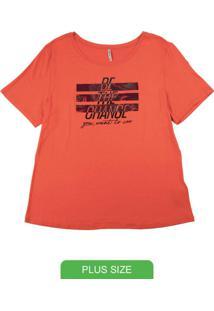 T-Shirt Em Viscose Estampa Com Fóil Laranja