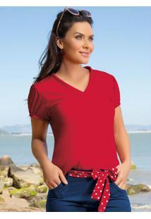 Blusa Em Helanca Decote V Vermelha