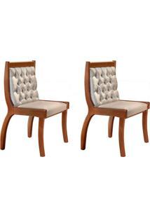 Conjunto Com 2 Cadeiras De Jantar Pérola I Imbuia E Bege