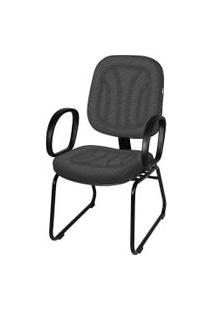 Cadeira Interlocutor Base Trapézio C/ Braço Cinza