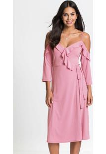 Vestido Transpassado Com Babados Rosa Chiclete