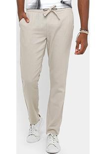 Calça Calvin Klein Linho Cós Amarração Masculina - Masculino