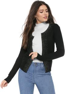 Cardigan Facinelli By Mooncity Tricot Strass Preto
