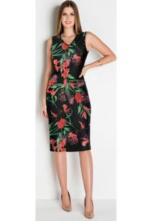 Vestido Tubinho Floral Preto Moda Evangélica