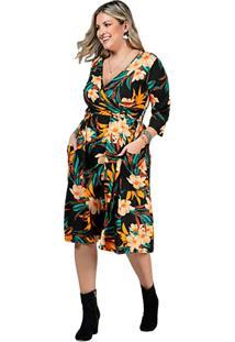 Vestido Floral Social Plus Size