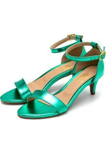 Sandália Feminina Salto Baixo Fino Em Verde Metalizado
