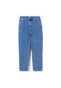 Calça Mom Jeans Com Elástico Na Cintura   Blue Steel   Azul   42