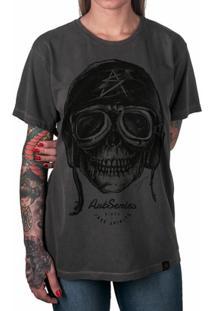Camiseta Caveira Artseries Motoqueiro Rider Feminina - Feminino-Grafite