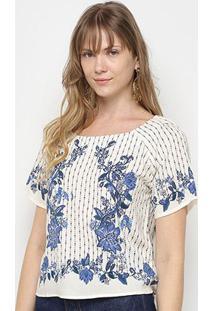 Blusa Farm Tshirt Raglan Arara Chintz Feminina - Feminino-Off White