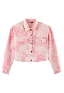 Jaqueta Hering Em Sarja Tie Dye Rosa