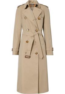 Burberry Trench Coat Gabardine De Algodão - Neutro