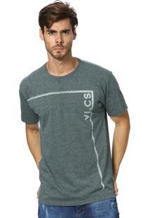Camiseta Standard Vlcs Logotipia Malha Penteada Cinza