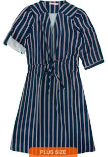 Vestido Azul Marinho Curto Listrado Com Zíper