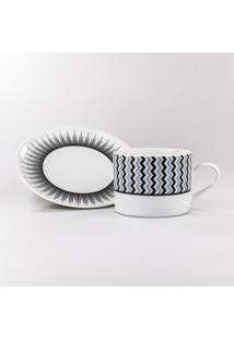 Conjunto De Xicaras Para Chá C/ Pires Porcelana Schmidt 06 Peças - Dec. Mila