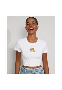 Camiseta Feminina Manga Curta Cropped Canelada O Rei Leão Com Bordado E Frufru Decote Redondo Off White