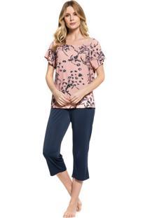 Pijama Inspirate Capri Floral Multicolorido