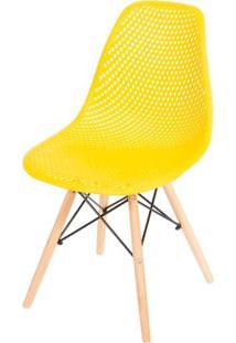 Cadeira Eames Furadinha Cor Amarela Com Base Madeira - 50008 Sun House