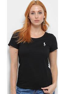 Camiseta Top Moda Bordado Feminina - Feminino-Preto