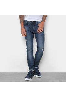 Calça Jeans Skinny Calvin Klein Estonada Cintura Média Five Pockets Masculina - Masculino