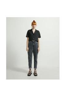 Camisa Cropped Com Manga Curta E Bolsos Frontais | Blue Steel | Preto | G
