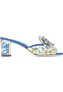Dolce & Gabbana Sandália De Couro Com Estampa 'Majolica' - Estampado