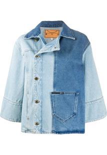 Mcq Alexander Mcqueen Jaqueta Jeans Color Block - Azul