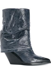 Diesel Ankle Boot Com Plataforma - Azul