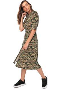 Vestido Chemise Fiveblu Midi Camuflado Verde/Marrom