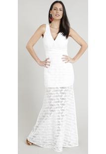 Vestido Feminino Longo Em Renda Transpassado Decote V Off White