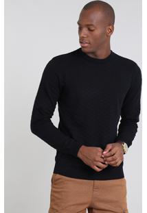 Suéter Masculino Comfort Fit Em Tricô Gola Redonda Azul Marinho