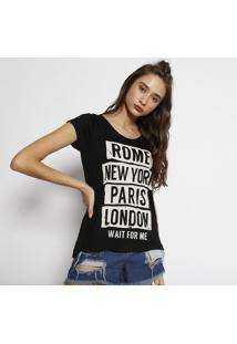 "Camiseta ""Rome New York Paris London""- Preta & Begeangel"