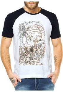 Camiseta Raglan Criativa Urbana Étnico Africano - Masculino-Branco